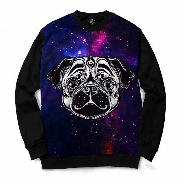 Blusa BSC Pug color Full Print Preto