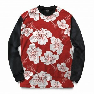 Blusa BSC Flower Red N White Full Print Preto