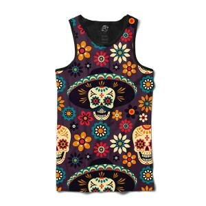 Camiseta BSC Regata Mexican Hat Skull Sublimada Preto