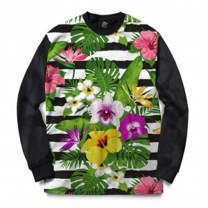 Blusa BSC Stripe Flowered Sublimada Preto