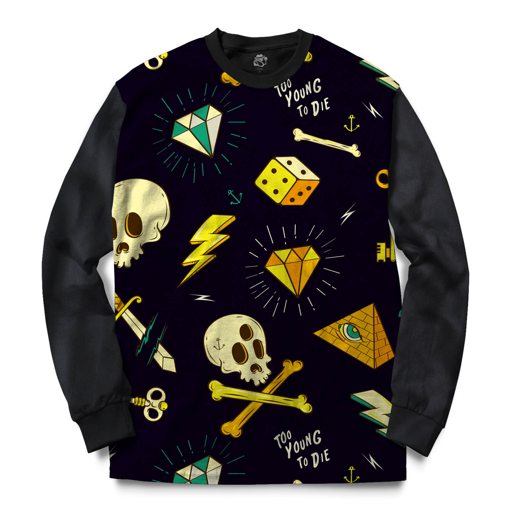 Blusa BSC Too Young To Die Full Print Preto