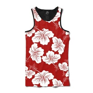Camiseta BSC Regata Flower Red N White Full Print Preto
