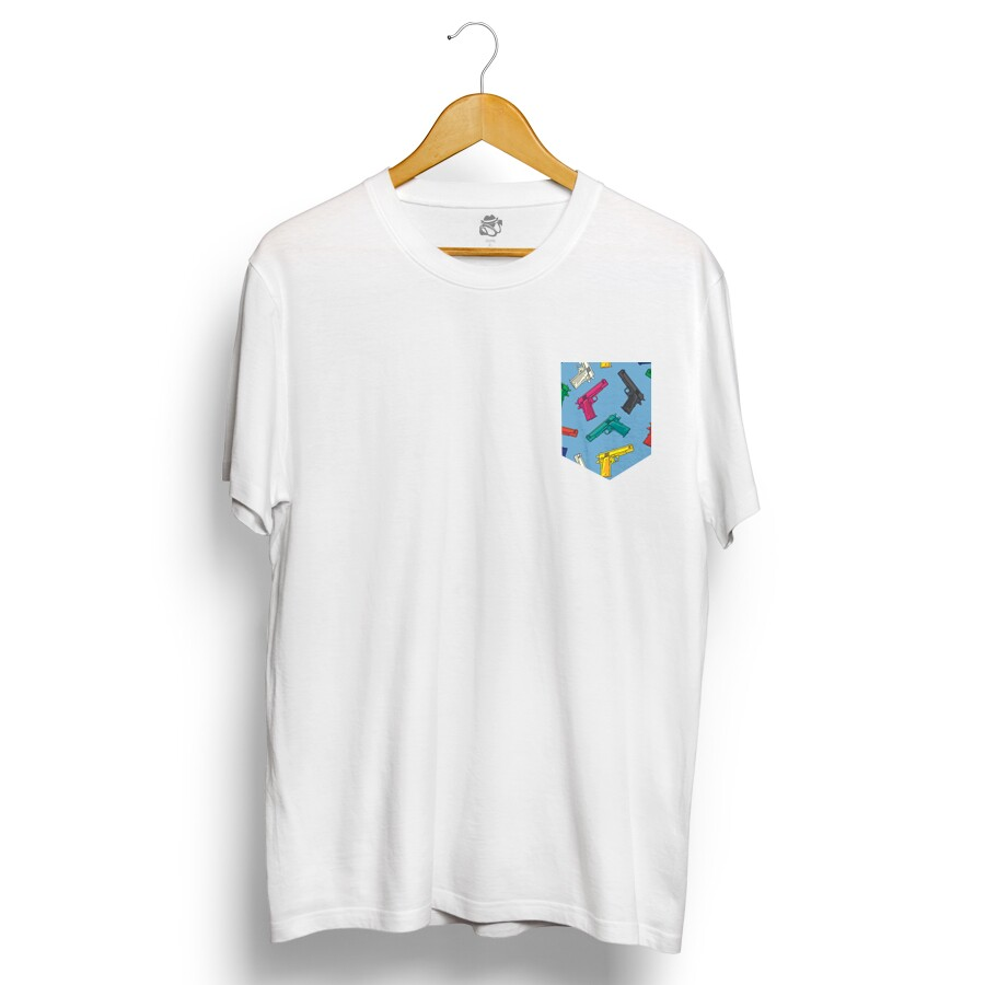 Camiseta BSC Gun Blue Pocket Branco