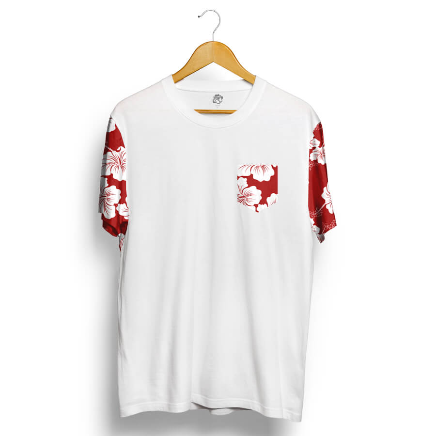 Camiseta BSC Raglan Flower Red N White Branco