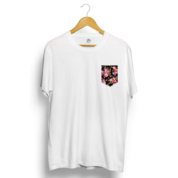 Camiseta BSC Black Flower Pocket Branco