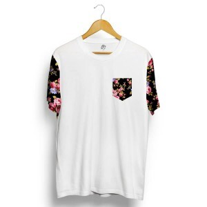 Camiseta BSC Raglan Black Flowers Branco