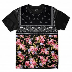 Camiseta BSC Black Flower Bandana Sublimada Preto