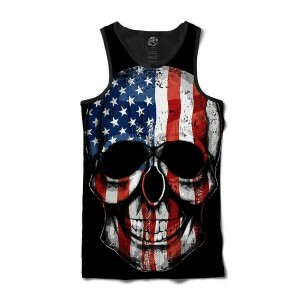 Camiseta BSC Regata USA Skull Sublimada Preto