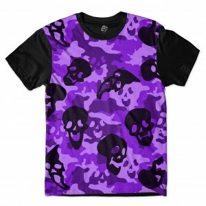 Camiseta BSC Purple Camo Skull Sublimada Preto