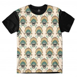 Camiseta BSC Multiple Indian Skull Full Print Preto