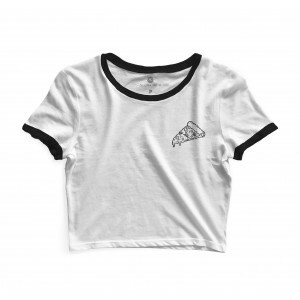 Cropped Morena Deluxe Small Pizza Branco/Preto