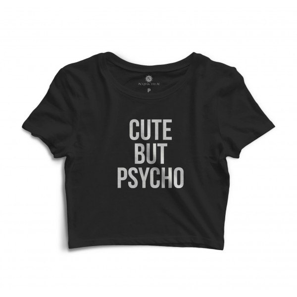 Cropped Morena Deluxe Cute But Psycho Preto