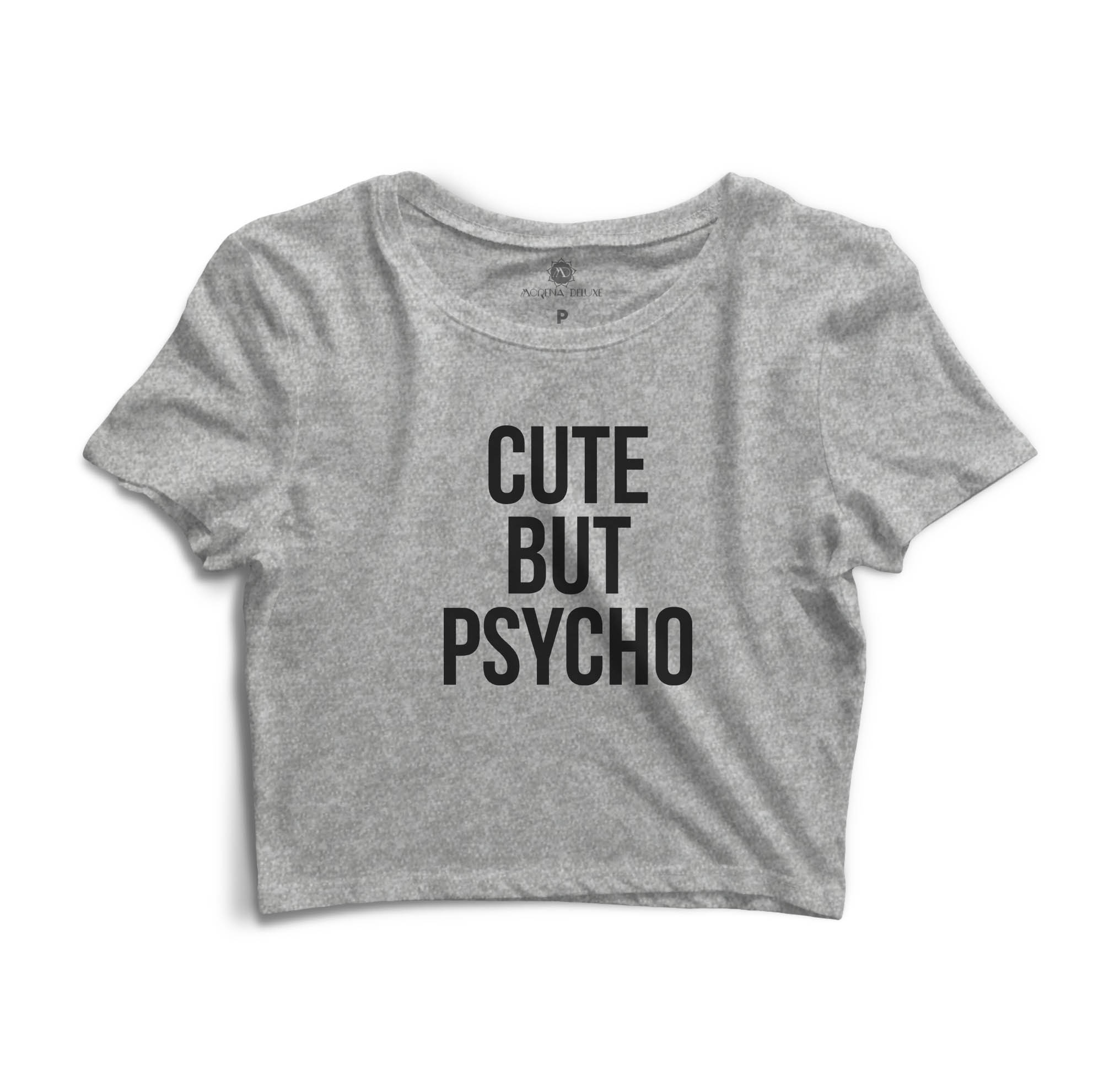 Cropped Morena Deluxe Cute But Psycho Cinza