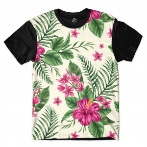 Camiseta BSC Flowers and Plants Full Print Preto
