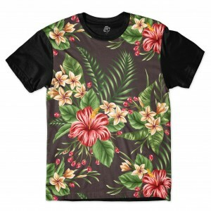 Camiseta BSC Flowers leaves Full Print Preto