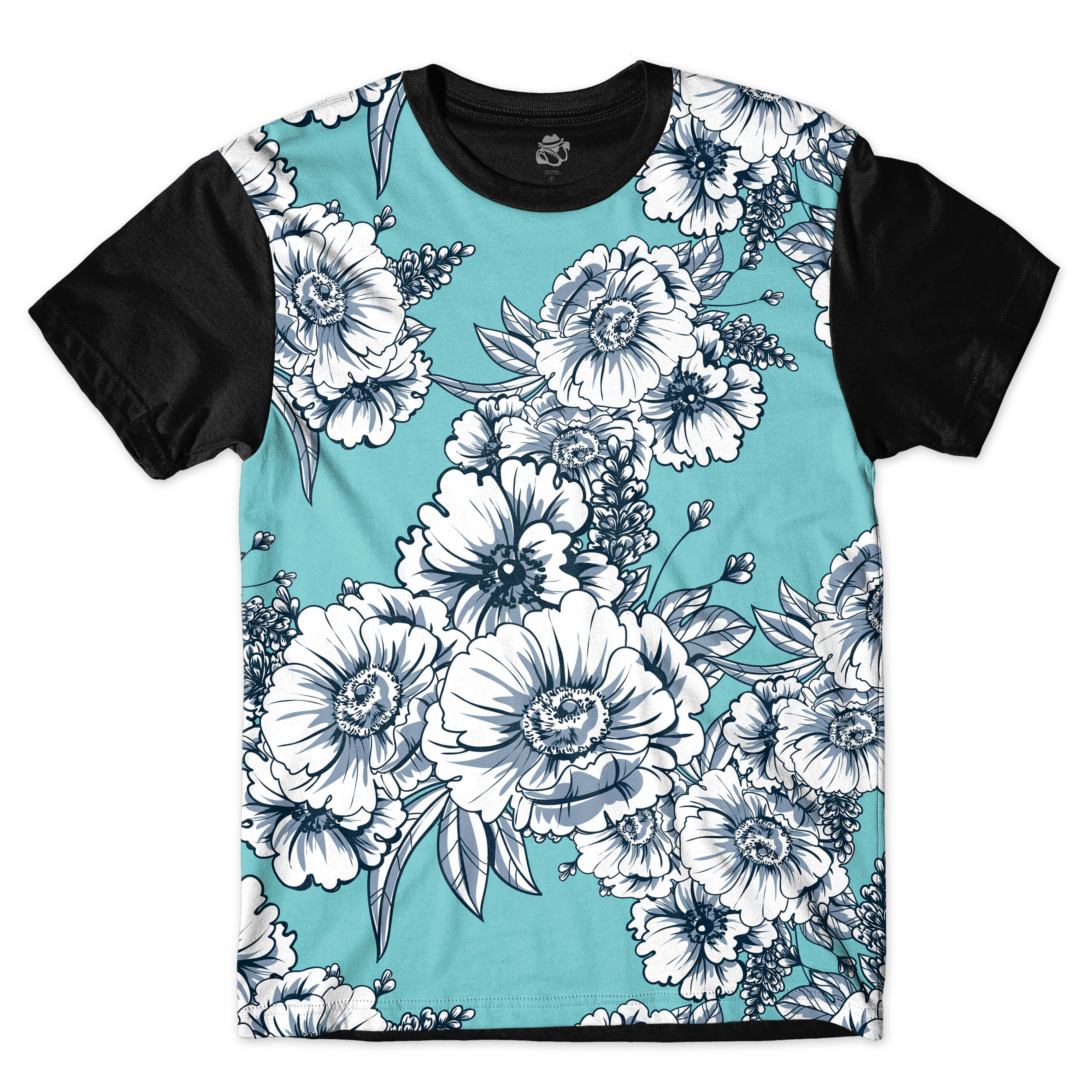 Camiseta BSC White Flowers Full Print Preto