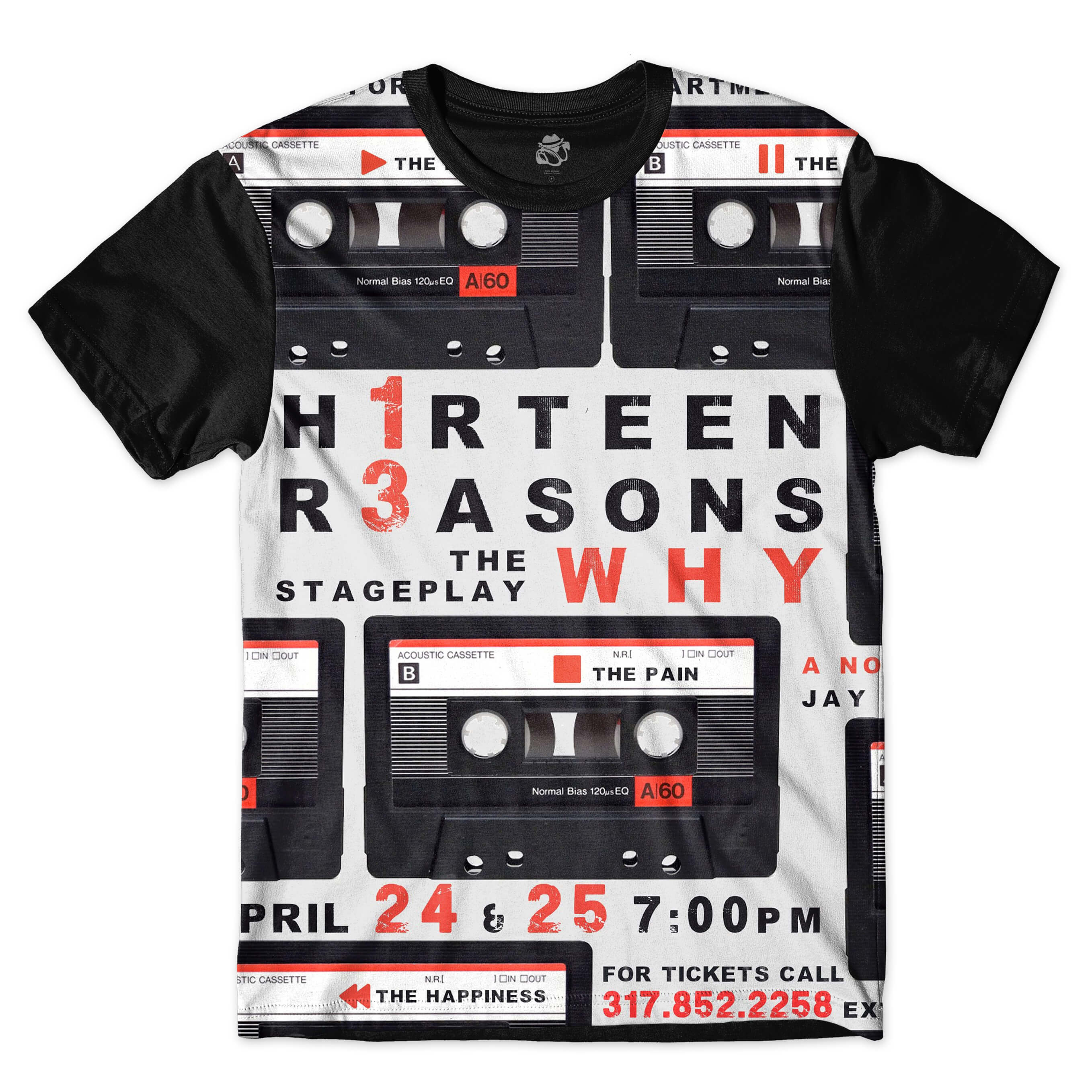Camiseta BSC Thirteen Reasons Why Full Print Preto
