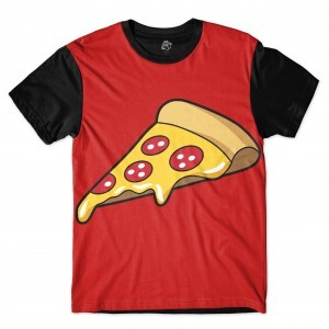 Camiseta BSC Big Sliced Pizza Sublimada Preto/Vermelho