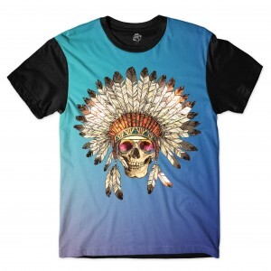 Camiseta BSC Indian Skull Glasses Full Print Preto