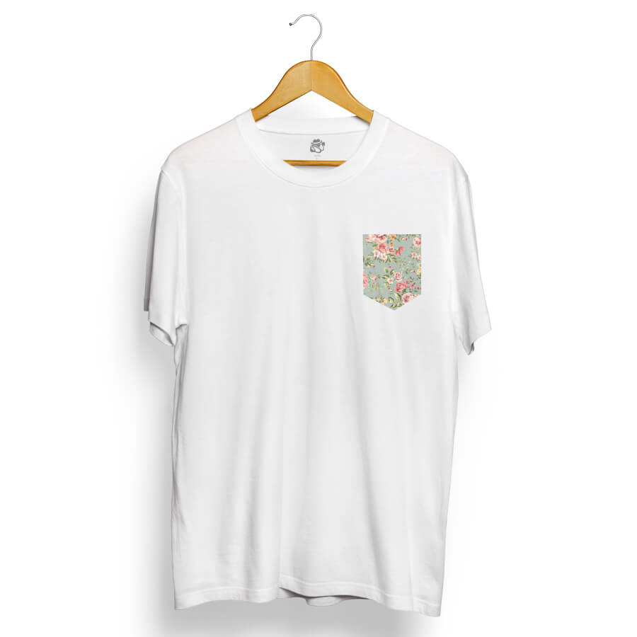 Camiseta BSC Flower Garden Pocket Branco
