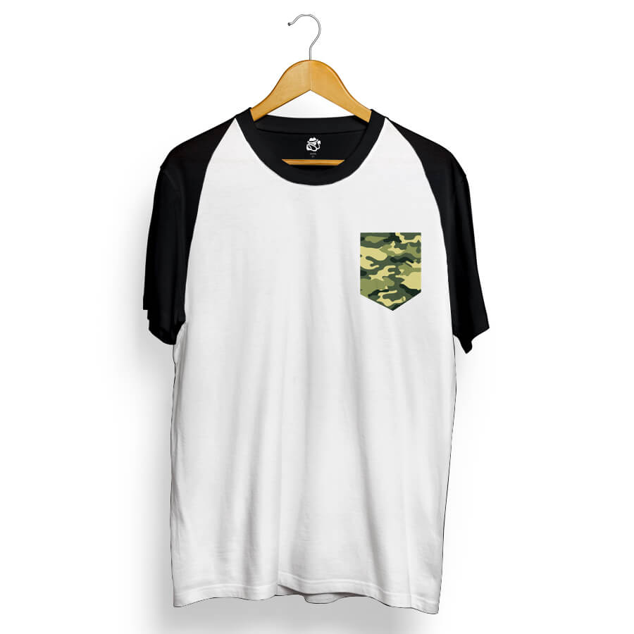 Camiseta BSC Raglan Green Camo Pocket Branco/Preto