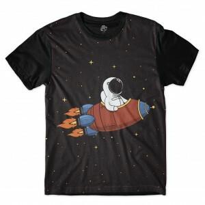 Camiseta BSC Animated Rocket Full Print Preto