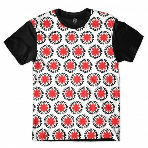 Camiseta BSC Red Hot Chili Peppers Full Print Preto/Branco