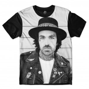 Camiseta BSC Yelawolf White and Black Full Print Preto