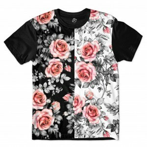 Camiseta BSC Dark N Sure Flowers Full Print Preto