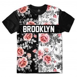 Camiseta BSC Brooklyn Dark N Sure Flowers Full Print Preto