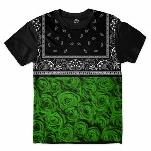 Camiseta BSC Green Rose Bandana Full Print Preto