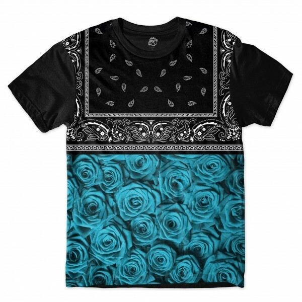 Camiseta BSC Blue Rose Bandana Sublimada Preto