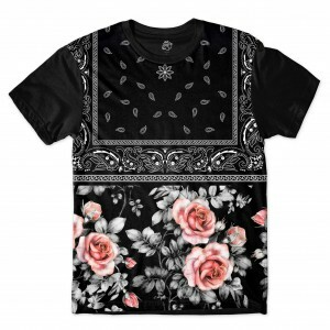 Camiseta BSC Dark Flower Bandana Sublimada Preto