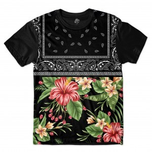 Camiseta BSC Flowers Leaves Bandana Sublimada Preto