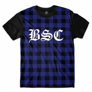 Camiseta BSC Streed Chess Sublimada Preto/Azul Royal
