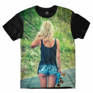 Camiseta BSC Girl Shorts Full Print Preto
