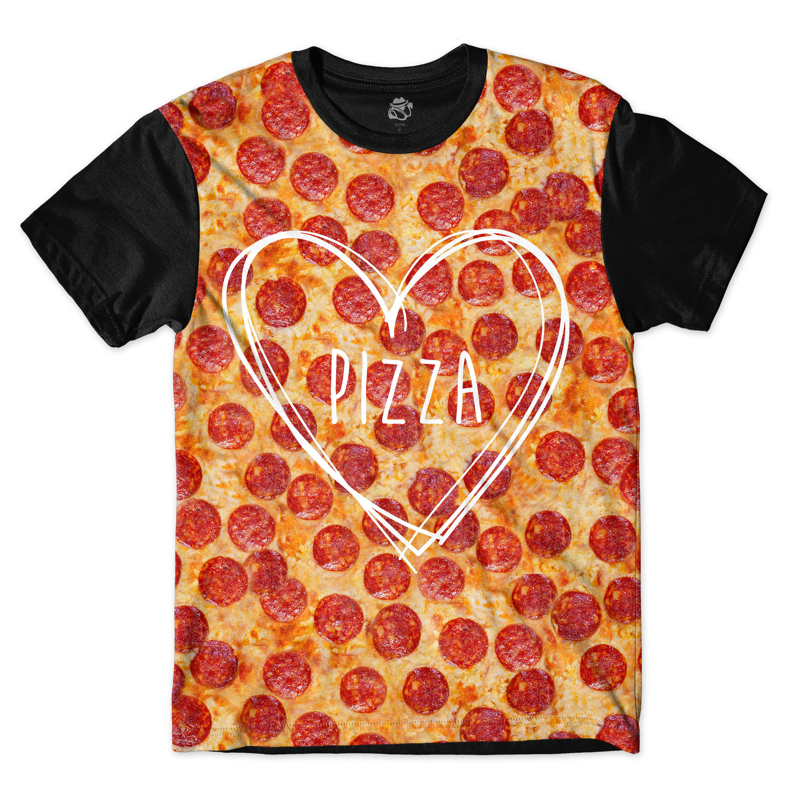 Camiseta BSC Greater Love Pizza Full Print Preto
