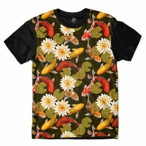 Camiseta BSC Flower Fish Full Print Preto