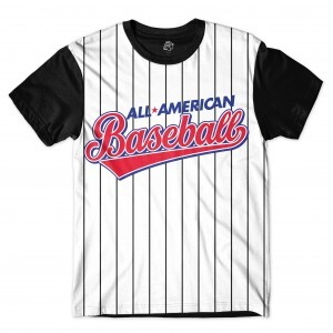 Camiseta BSC All American Baseball Sublimada Preto/Branco
