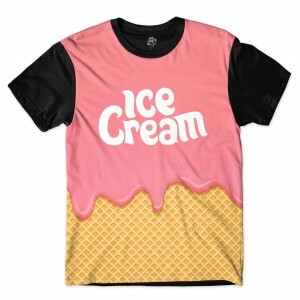 Camiseta BSC Pink Ice Cream Full Print Preto