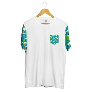 Camiseta BSC Drugz Pocket Full Print Branco/Verde
