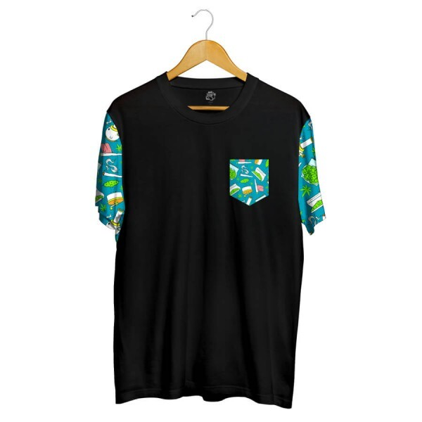 Camiseta BSC Drugz Pocket Full Print Preto/Verde