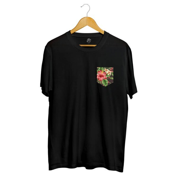Camiseta BSC Flowers Leaves Pocket Full Print Preto