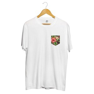 Camiseta BSC Flowers Leaves Pocket Full Print Branco