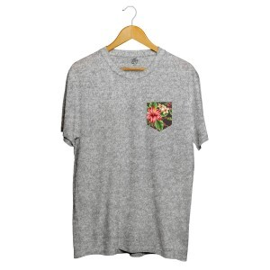 Camiseta BSC Flowers Leaves Pocket Full Print Cinza