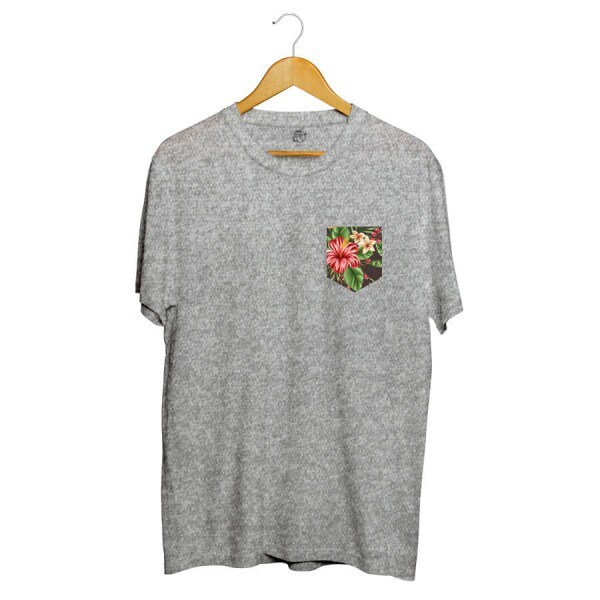 Camiseta BSC Flowers Leaves Pocket Sublimada Cinza