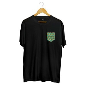 Camiseta BSC Pizza POA Pocket Full Print Preto