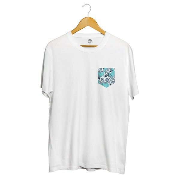 Camiseta BSC Blue Flowers Pocket Full Print Branco