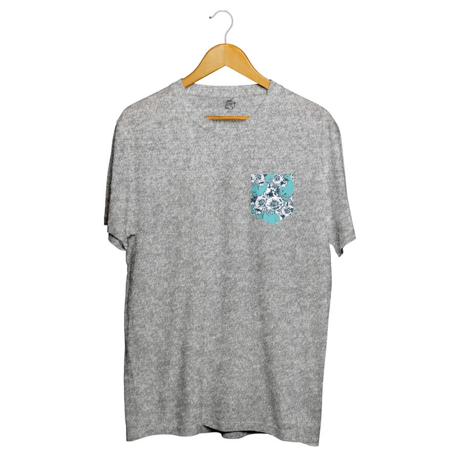 Camiseta BSC Blue Flowers Pocket Full Print Cinza