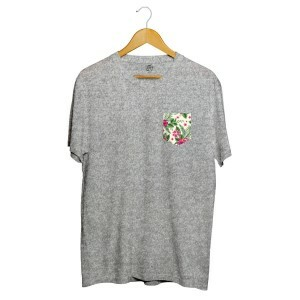 Camiseta BSC Flower Tropicano Pocket Full Print Cinza
